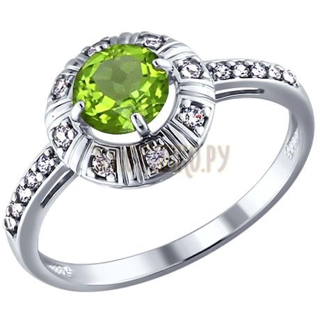 Кольцо из серебра с фианитами и хризолитом 92010795