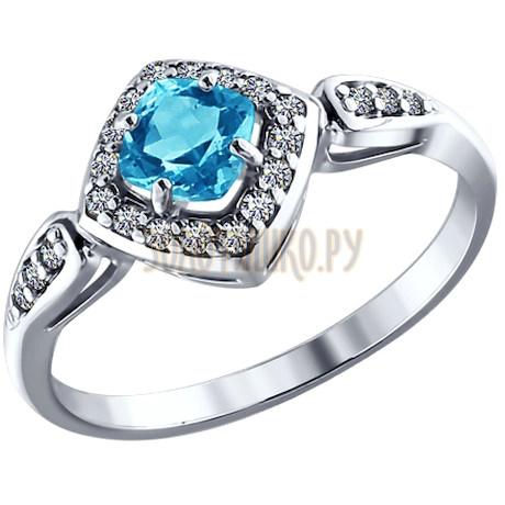 Кольцо из серебра с топазом и фианитами 92010816