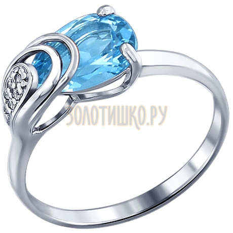 Кольцо из серебра с топазом и фианитами 92010824