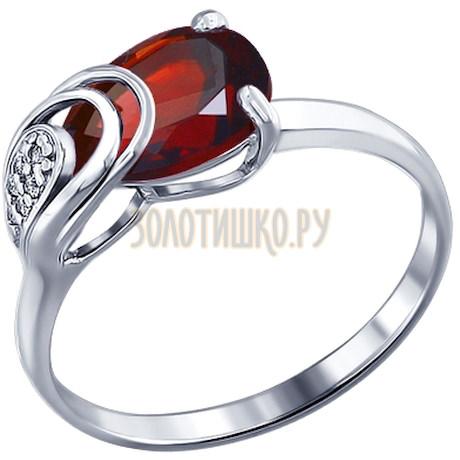 Кольцо из серебра с гранатом и фианитами 92010825