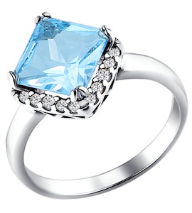 Кольцо из серебра с топазом и фианитами 92010848