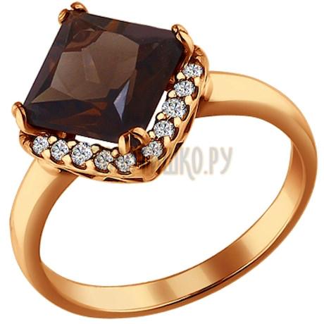 Кольцо из золочёного серебра с раухтопазом и фианитами 92010851