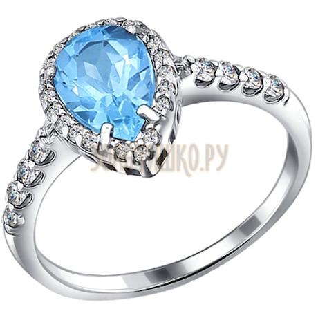 Кольцо из серебра с топазом и фианитами 92010859
