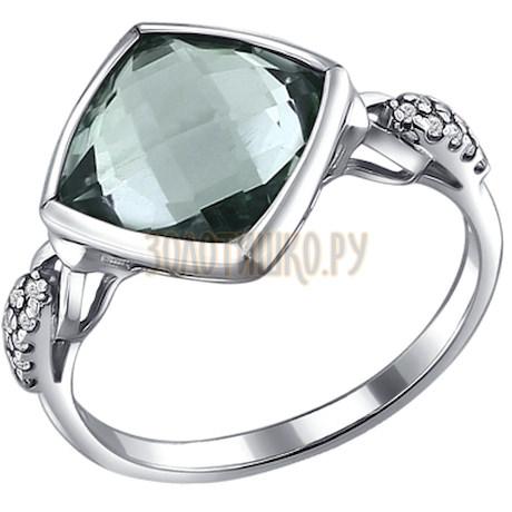 Кольцо из серебра с кварцем и фианитами 92010872