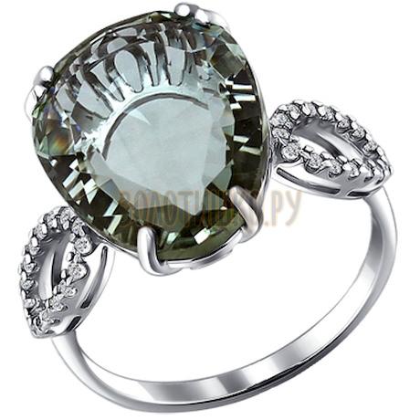 Кольцо из серебра с кварцем и фианитами 92010873