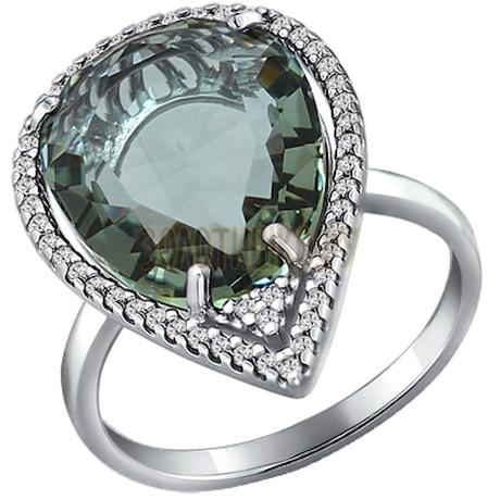 Кольцо из серебра с кварцем и фианитами 92010874