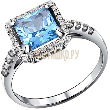 Кольцо из серебра с топазом и фианитами 92010885