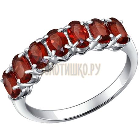 Кольцо из серебра с гранатами 92010893