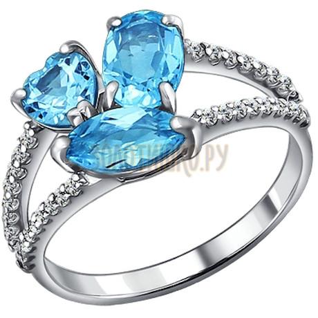 Кольцо из серебра с топазами и фианитами 92010922