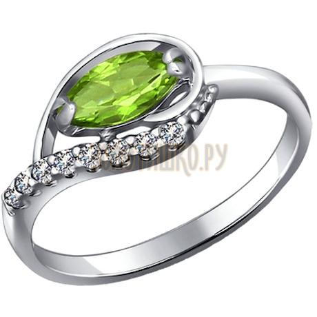 Кольцо из серебра с фианитами и хризолитом 92010933
