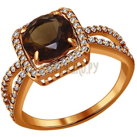 Кольцо из золочёного серебра с раухтопазом и фианитами 92010943