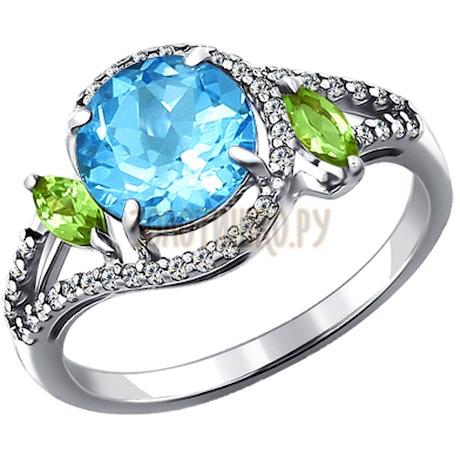 Кольцо из серебра с миксом камней 92010946