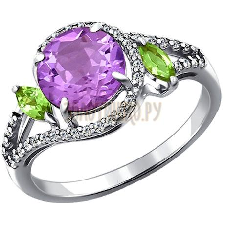 Кольцо из серебра с миксом камней 92010947