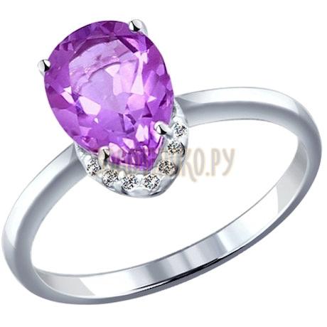 Кольцо из серебра с аметистом и фианитами 92010979
