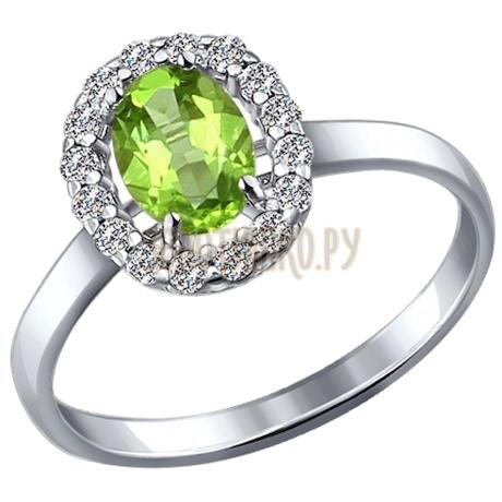 Кольцо из серебра с фианитами и хризолитом 92010985