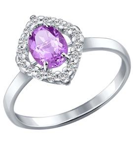 Кольцо из серебра с аметистом и фианитами 92010991