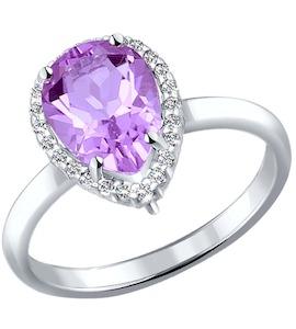 Кольцо из серебра с аметистом и фианитами 92010994