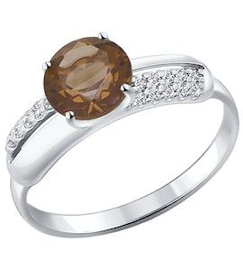 Кольцо из серебра с раухтопазом и фианитами 92011054