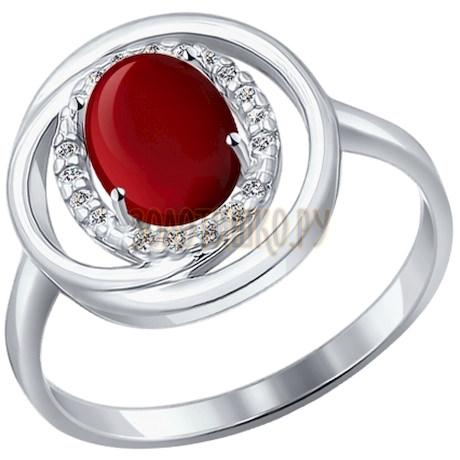 Кольцо из серебра с гранатом и фианитами 92011064
