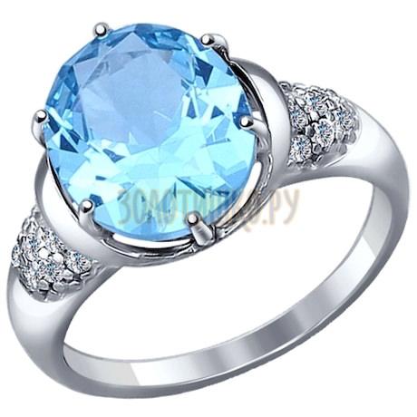 Кольцо из серебра с топаз sky ситаллом и фианитами 92011125