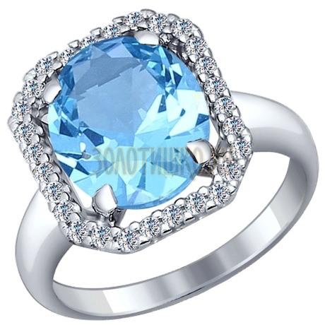 Кольцо из серебра с ситаллом и фианитами 92011127
