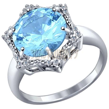 Кольцо из серебра с ситаллом и фианитами 92011128