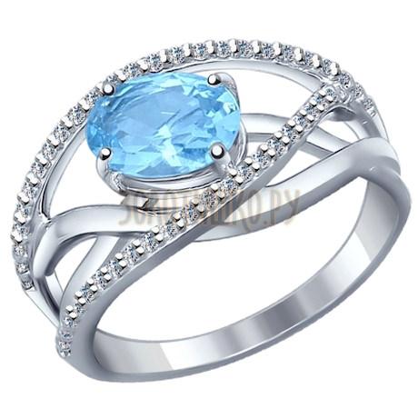 Кольцо из серебра с топаз sky ситаллом и фианитами 92011148