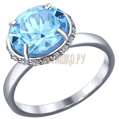 Кольцо из серебра с топаз sky ситаллом и фианитами 92011149
