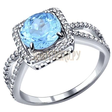 Кольцо из серебра с топаз sky ситаллом и фианитами 92011153