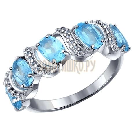 Кольцо из серебра с голубыми топазами и фианитами 92011199