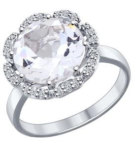 Кольцо из серебра с горным хрусталём и фианитами 92011206