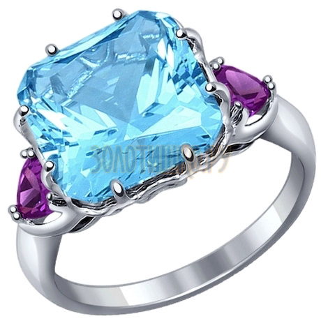 Кольцо из серебра с топаз swiss ситаллом и сиреневыми фианитами 92011216