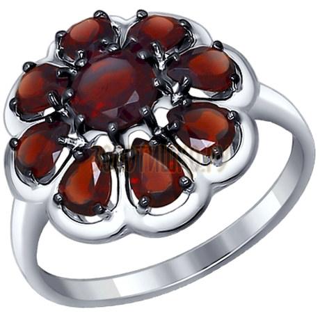 Кольцо из серебра с гранатами 92011253