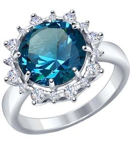 Кольцо из серебра с ситаллом и фианитами 92011266