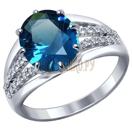 Кольцо из серебра с синим ситаллом и фианитами 92011268