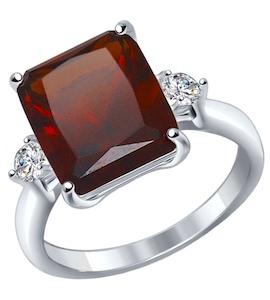 Кольцо из серебра с красным ситаллом и фианитами 92011270