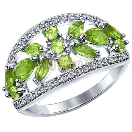 Кольцо из серебра с хризолитами и фианитами 92011273