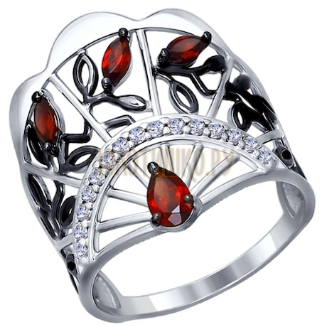 Кольцо из серебра с гранатами и фианитами 92011277