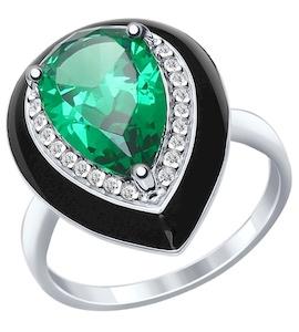 Кольцо из серебра с эмалью с зелёным ситаллом и фианитами 92011299