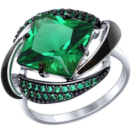 Кольцо из серебра с эмалью с зелёным ситаллом и зелеными фианитами 92011302
