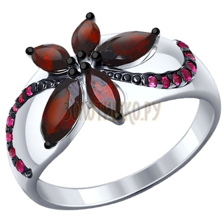 Кольцо из серебра с гранатами и красными фианитами 92011304