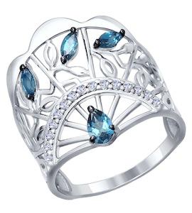 Кольцо «Веер» из серебра с топазами и фианитами 92011306
