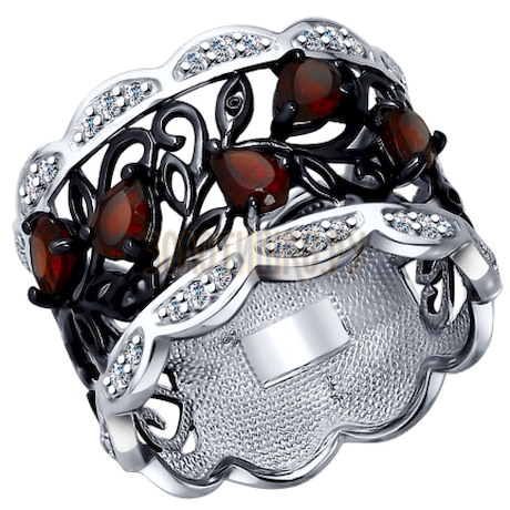 Кольцо из серебра с гранатами и фианитами 92011307