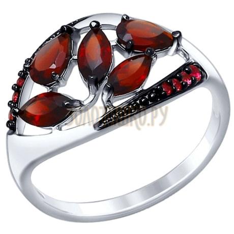 Кольцо из серебра с гранатами и красными фианитами 92011348