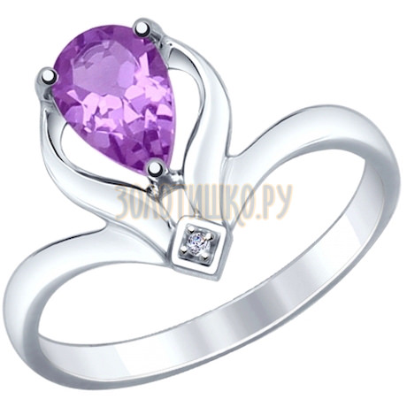 Кольцо из серебра с аметистом и фианитом 92011360