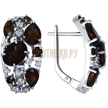 Серьги из серебра с раухтопазами и фианитами 92020229