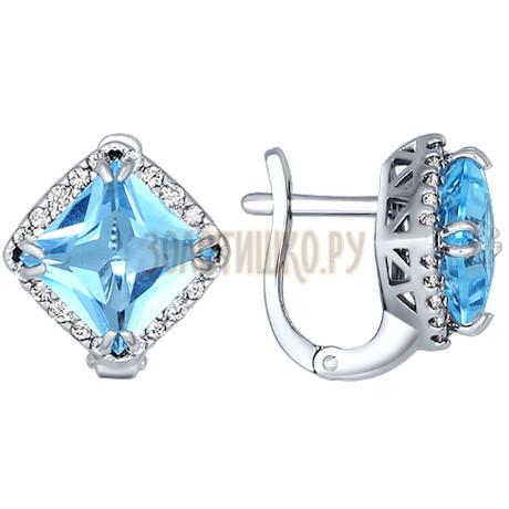 Серьги-ромбы из серебра с крупным топазом и фианитами 92020951