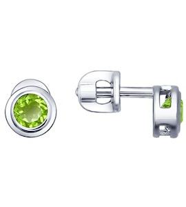 Серьги-пусеты из серебра с хризолитами 92021084