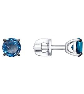 Пусеты с топазами london blue 92021087