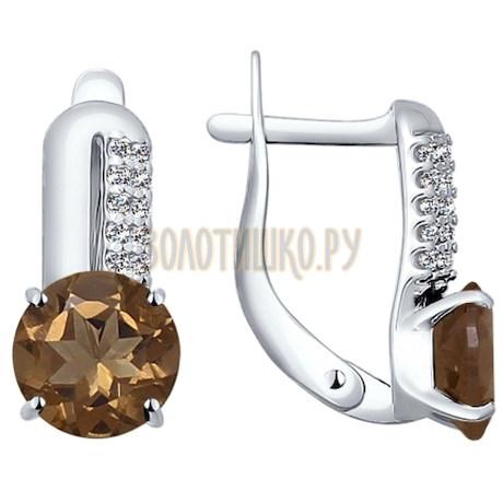 Серьги из серебра с раухтопазами и фианитами 92021193